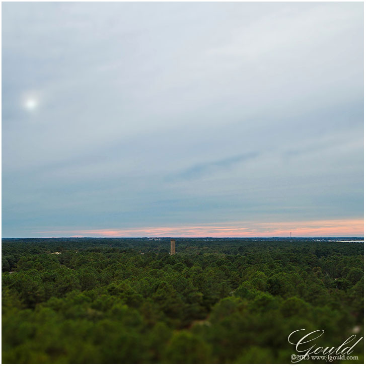 View from the top of the Cape Henlopen observation tower, showing another tower in the distance...