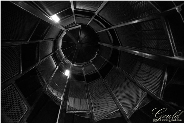 Looking up from inside the WWII observation tower at Cape Henlopen State Park, Delaware
