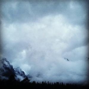 Grand Tetons hidden in clouds